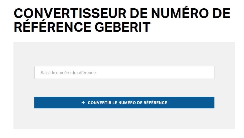 Convertisseur de numéros de référence Geberit