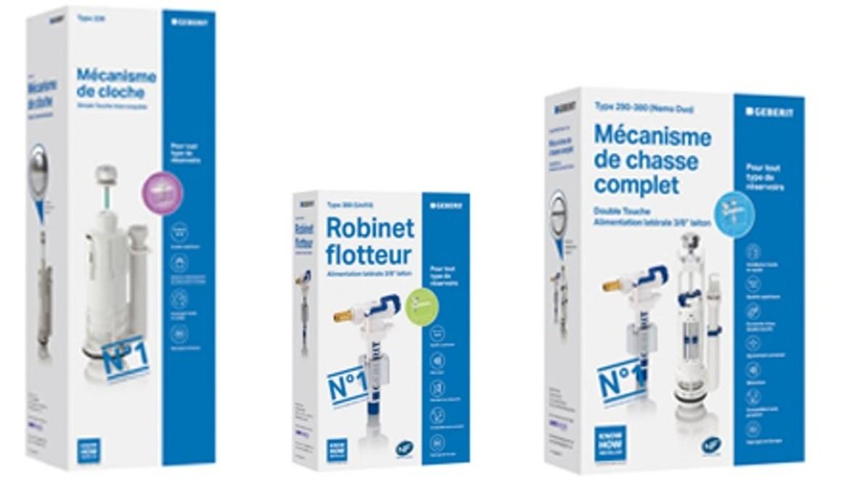 Emballages de mécanisme de chasse et robinet flotteur Geberit pour réservoirs